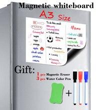 Pizarra blanca magnética de tamaño A3, 297mm x 420mm, imanes para nevera, tableros de presentación, tableros de mensajes de cocina para el hogar, pegatinas de escritura, imanes