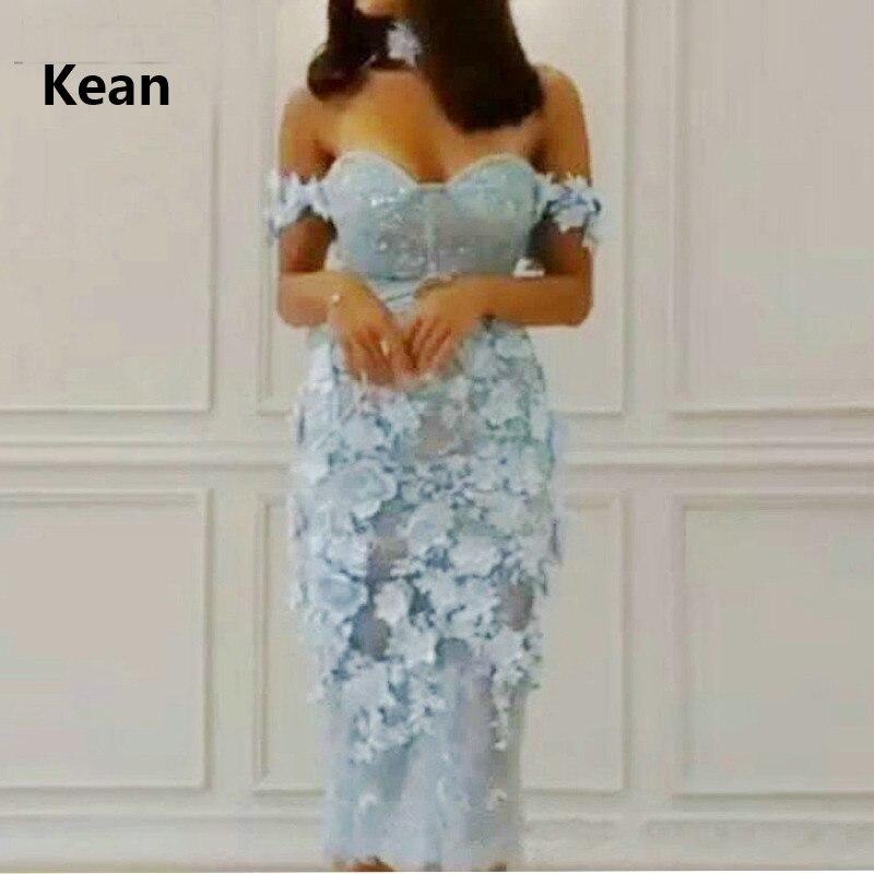 Sky Blue Cocktail Dresses Lace 3D Flowers Off The Shoulder Mermaid Illusion Elegant Short Party Dress Homecoming Dresses