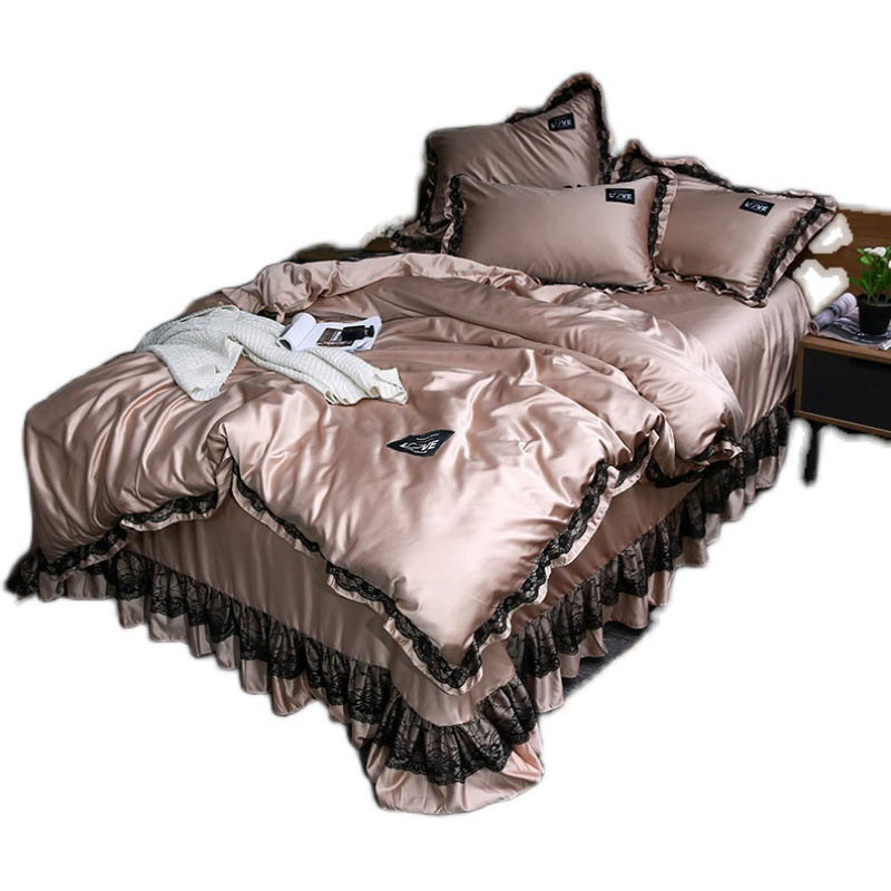 3pcs Lace Bedding Set Luxury Wash Silk Duvet Cover For Bedroom Soft Quilt Cover And Pillowcase Nordic Bed Linens Sets For Home 6