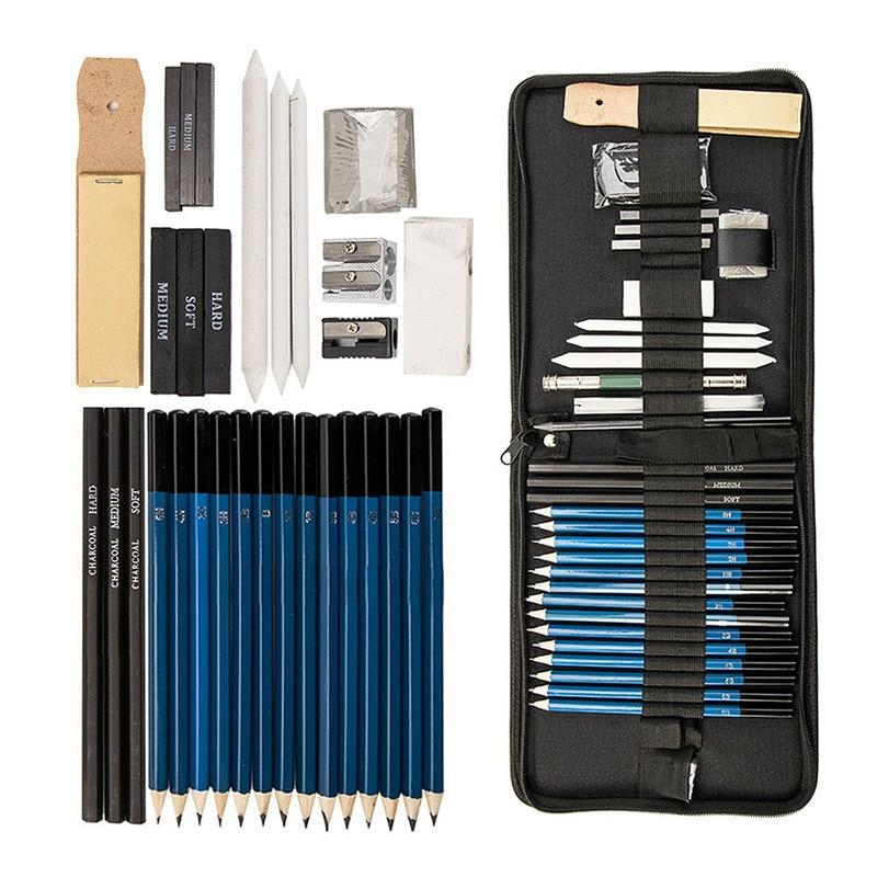 36pcs/set Drawing Sketching Pencils Set Charcoal Graphite Artist Sketching Kit Wood Pencil Pencil Bags Students Art Supplies