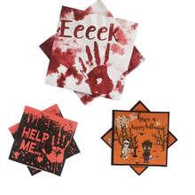 33*33cmHalloween Decoration For Home Paper Napkins Horror Blood Handprint Happy Halloween Eve Supplies