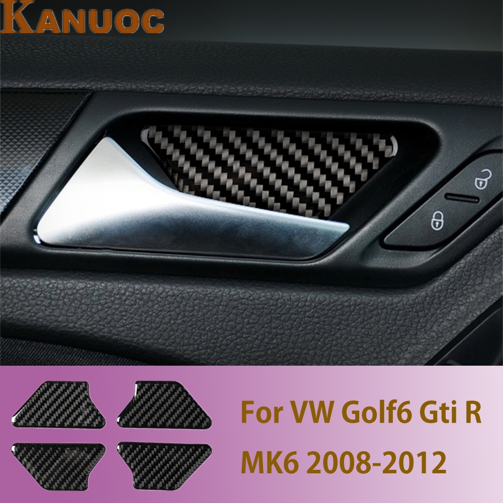Carbon Fiber Car Inner Door Bowl Sticker Trim Interior Moulding Cover For VW Golf6 GTI R MK6 2008-2012 Car Styling Accessories