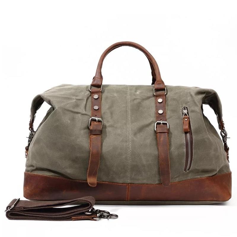 Militaire Vintage toile grande capacité voyage sac de sport fourre-tout hommes en cuir sacs de nuit bagages porter sur sac de week-end étanche
