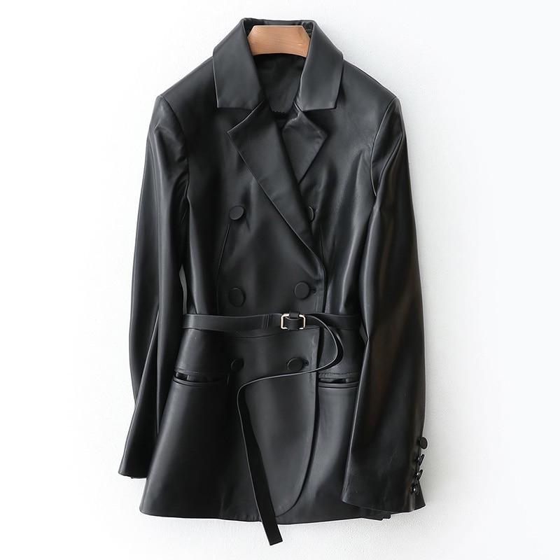 Jacket Leather Genuine Spring Autumn Jacket Women Sheepskin Coat Female Streetwear Blazer Women Clothes 2020 TLOOR1196