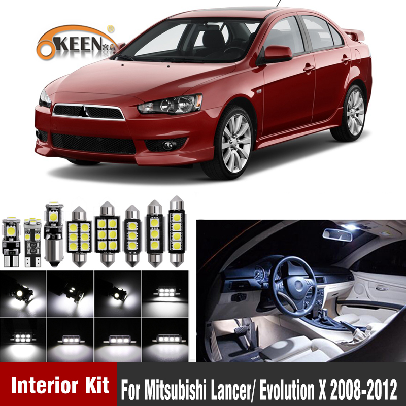 8Pcs White <font><b>Led</b></font> Interior Bulb Kits For <font><b>Mitsubishi</b></font> <font><b>Lancer</b></font>/ Evolution <font><b>X</b></font> 2008-2012 Car-Styling Interior Dome image