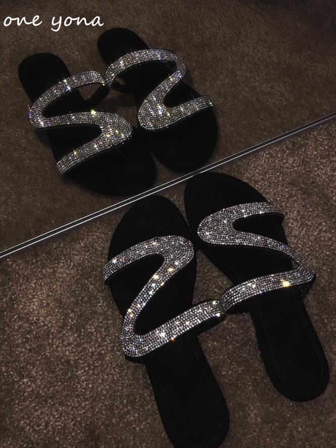 Women's Shoes Platform Ladies Sandals Diamond Flat Fashion New Casual Hollow A331 One-Shaped