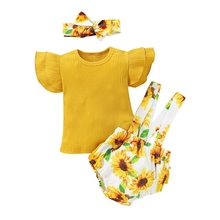 2020 New Newborn Baby Girls Flying Sleeve Tops Overall Floral Print Short Outfits Toddle Clothing Set 2019 new christmas outfits babys outfits kids clothing santa clause suit long sleeve cute fashion toddle