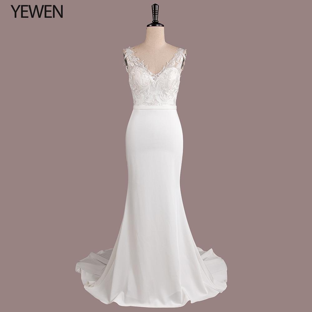 White Princess V-neck Floor-Length Sequin Wedding Dresses Long Mermaid Sweep Train Bride Dress Dress Bow Party Gown