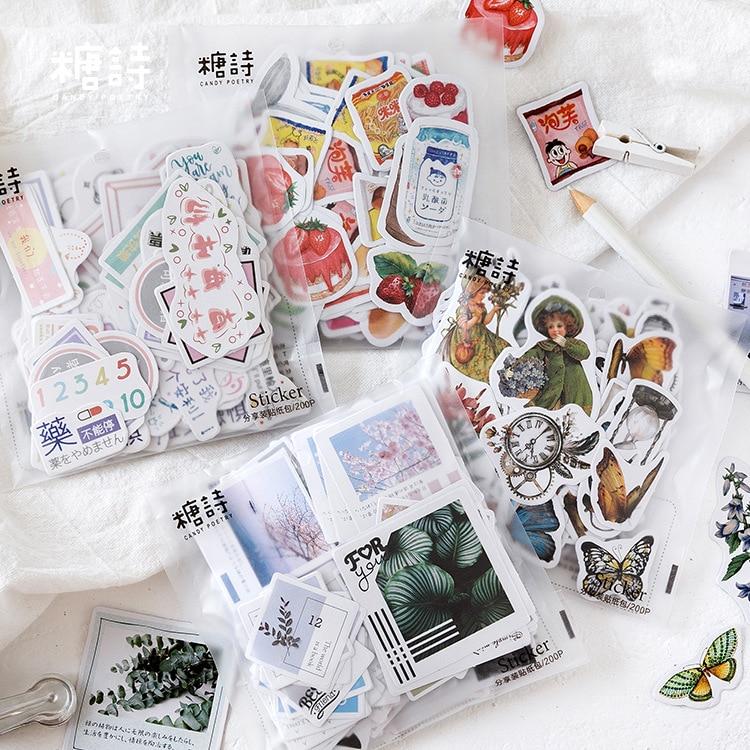 Mohamm 200 Sheets Cartoon Mini Plant Journal Diary Flat Scrapbook Paper Sticker Stationery Accessories