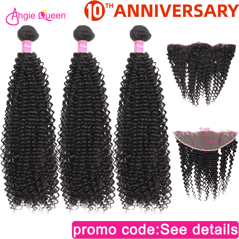 Kinky Curly Hair Bundles With Closure Frontal Indian Non Remy Hair Bundles With Frontal Human Hair Bundles With Closure 20 22 24