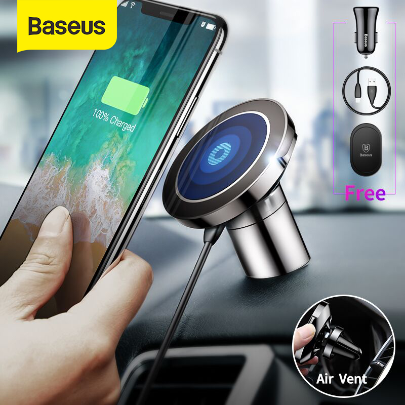 Baseus Magnetic Wireless Charger Car Mount In Air Vent Mobile Phone Holder 10W Fast Wireless Charging Paste Car Phone Holder