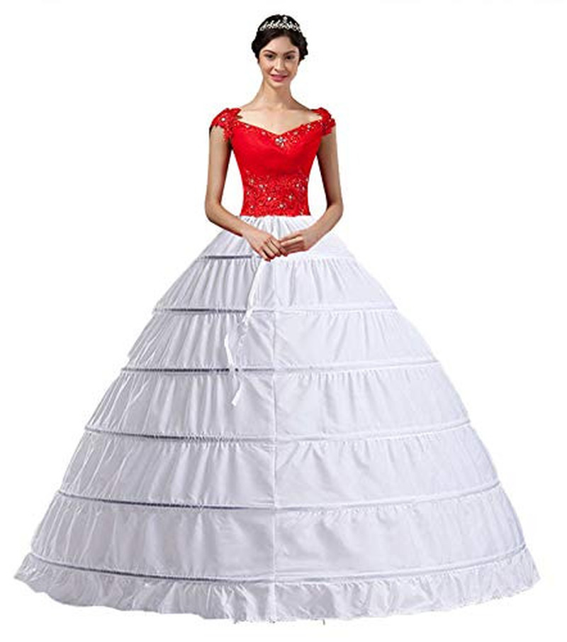 YULUOSHA Women White Crinoline 6 Hoop Long Petticoats Skirt Slips Floor Length Big Underskirt For Ball Gown Wedding Dress