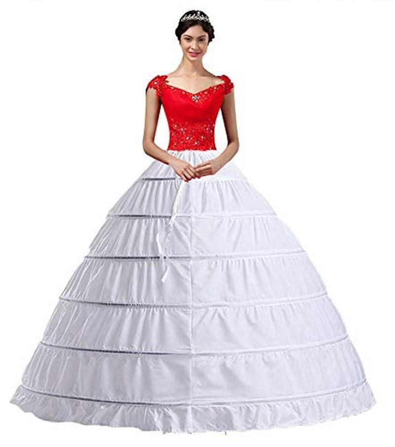 YULUOSHA Women White Crinoline 6 Hoop long Petticoats Skirt Slips Floor Length big Underskirt for Ball Gown Wedding Dress