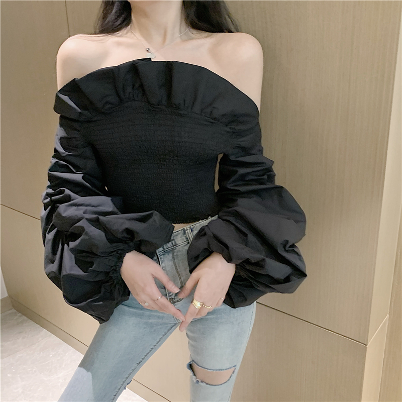 Women Ruffles Slash Neck Long Puff Sleeve Off Shoulder Stretchy Shirts Tee Girls Solid Sexy Blouses shirts Tops For Female
