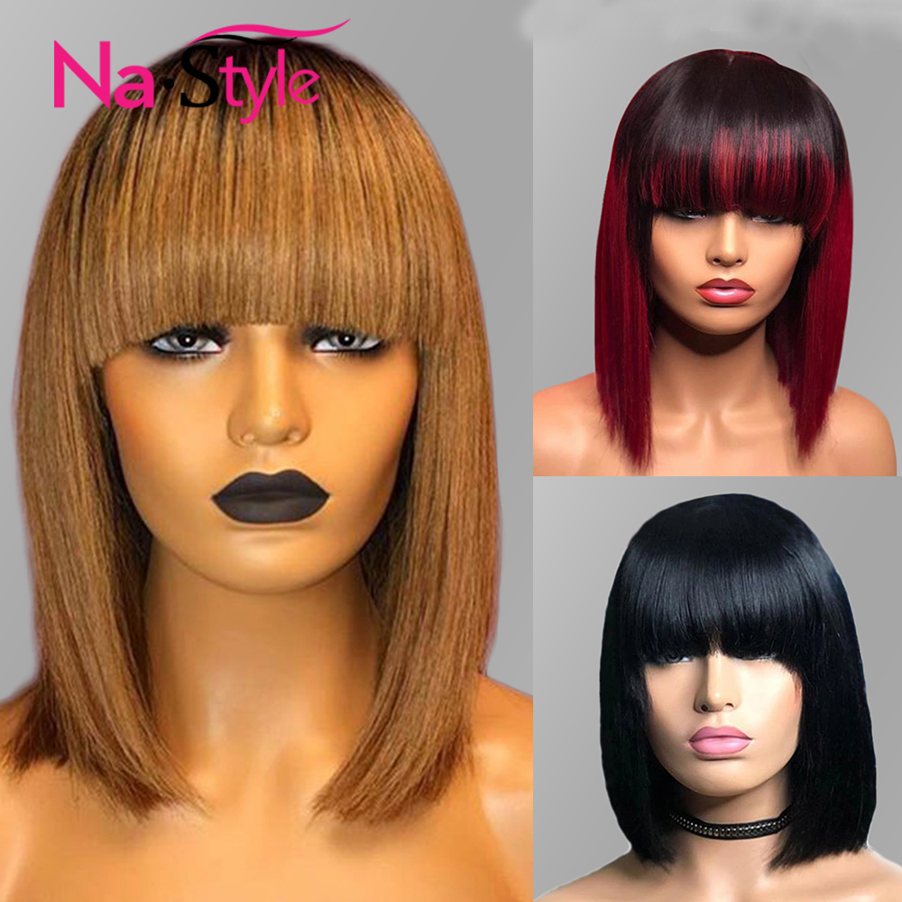 Bang Wig Human Hair Burgundy Straight Bob Wig Short Bob Lace Front Wigs Ombre Honey Blonde 13x6 Lace Front Human Hair Wig 1b 27