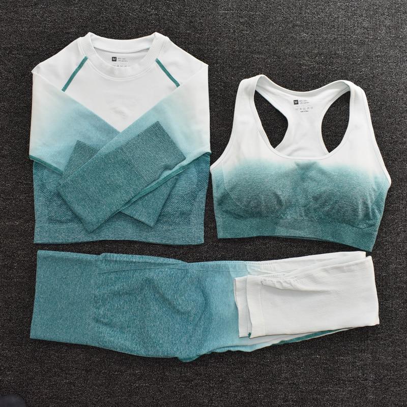 Ombre Frauen Yoga Set Nahtlose Leggings Langarm Crop Top Sport-Bh Laufen Hosen Gym Kleidung Fitness Workout Sport Anzug