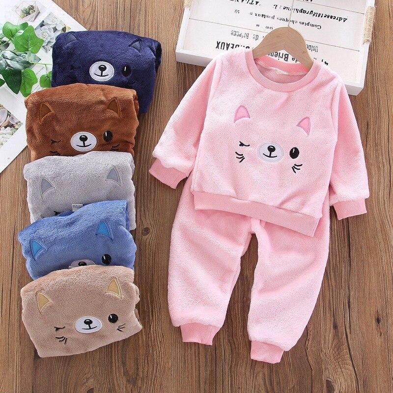 Осенняя детская одежда зимняя для маленьких девочек фланелевый