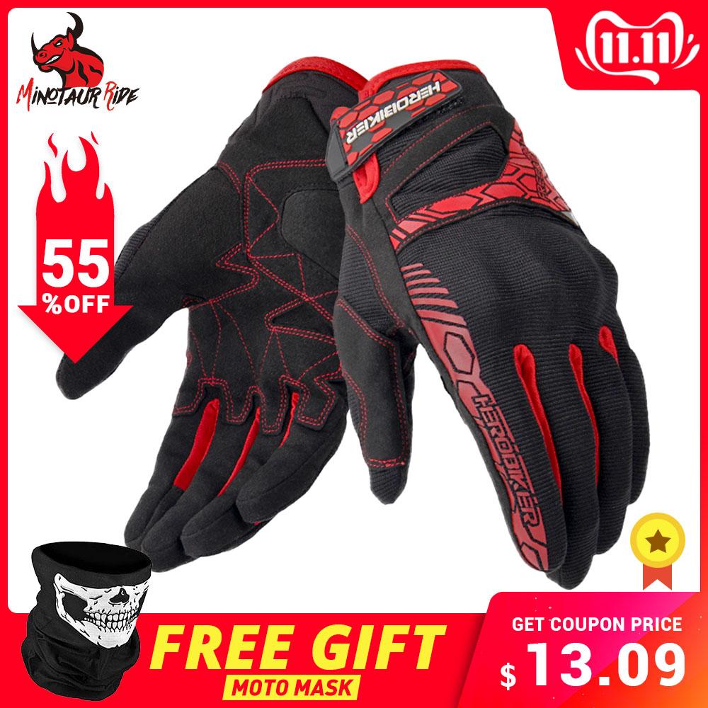 Herobiker luvas da motocicleta gant moto tela de toque luvas motocross respirável corrida equitação moto luvas guantes