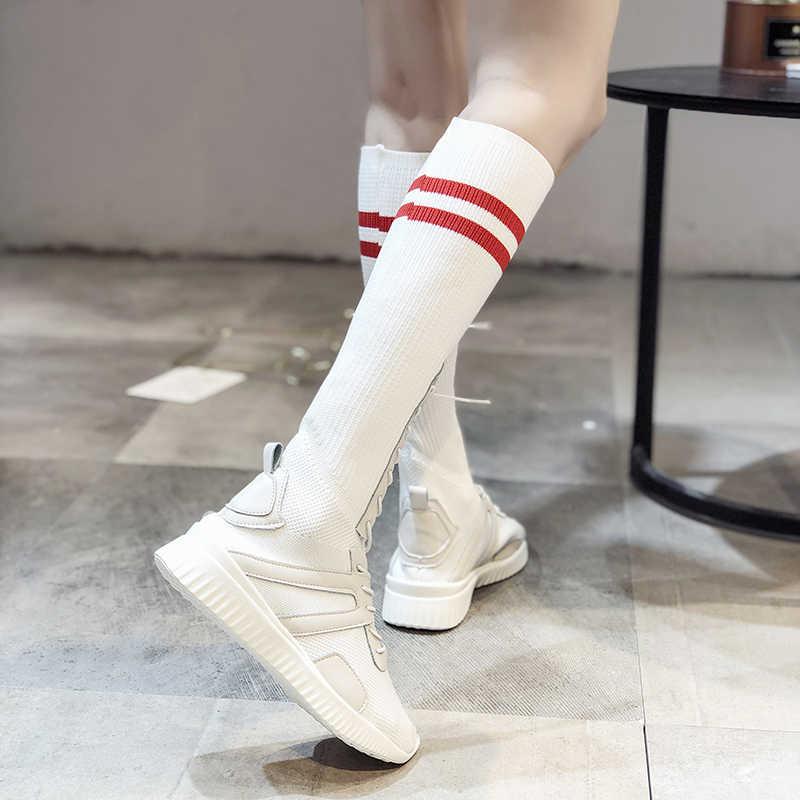 2019 Çorap çizmeler sonbahar yeni kadın örgü yüksek çizmeler Kore versiyonu günlük çizmeler yüksek tüp düz beyaz Martin