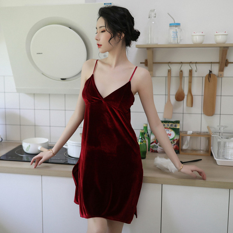 JULY'S SONG Sexy Velvet Nightdress Woman Lace Autumn Winter V-neck Nightgown Sling Sleepwear Woman Robe Nightwear