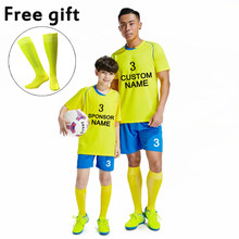 2019 New Football Kits Boys Men Soccer Jerseys Custom Football Team League Tracksuit Yellow Balck Blue Orange White Football Set(China)