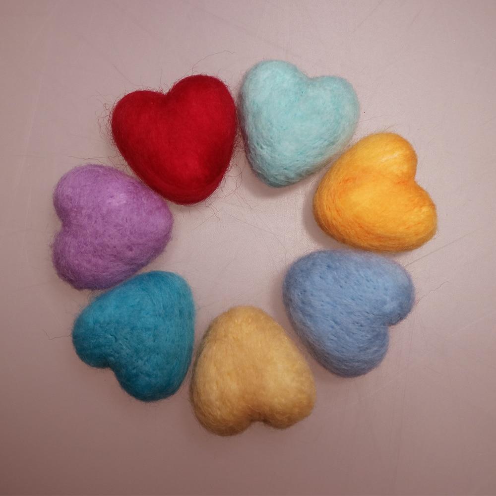 7pcs Pack Newborn Handmade 100% Wool Felt Heart Shape Photography Studio Props Infant fotografia Accessories Baby Girl Boy Photo