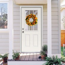 40 cm Artificial Sunflower Wreath Flower With Yellow And Green Leaves Front Door Wall Window Wedding Decoration