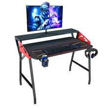 Large Gaming Desk 47 Inch Computer Gaming Desk E-Sports Table with with Cup Holder, Headphone Hook for Home Office