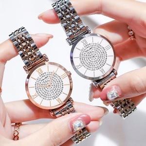Image 3 - หรูหราคริสตัลผู้หญิงสร้อยข้อมือนาฬิกา 2019 แบรนด์ยอดสุภาพสตรีนาฬิกาเพชรกันน้ำนาฬิกา relogio femininozegarek damski