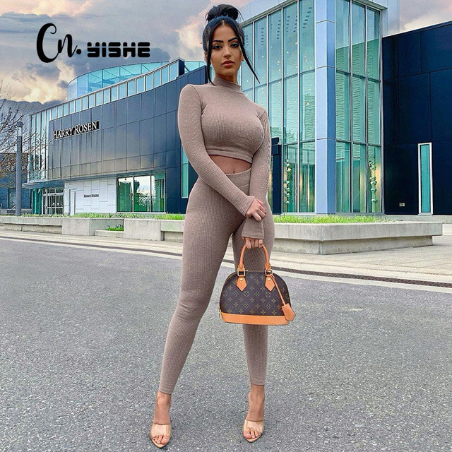 CNYISHE Sporty Workout Fitness Casual Matching Sets Women Tracksuit Long Sleeve Skinny Bodycon Crop Top And Leggings Pants Suits 1