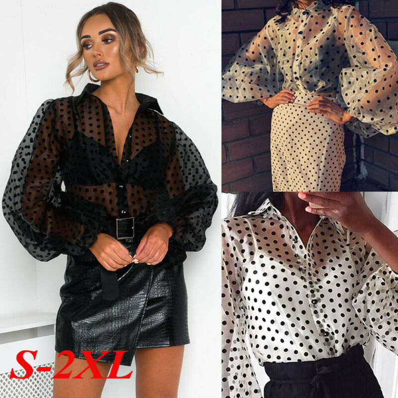 Women Girls Mesh Sheer Top Long Puff Sleeve Transparent Blouse Shirt Polka Dot Printed Blouse Shirts Female Tees Tops Streetwear