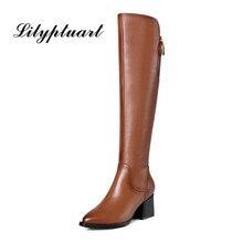 Brytyjski styl skóry wołowej materiał zapinane na zamek ozdobne buty wskazał gruby wysoki obcas boczny zamek błyskawiczny gumowe podeszwy zimowe buty kobiet
