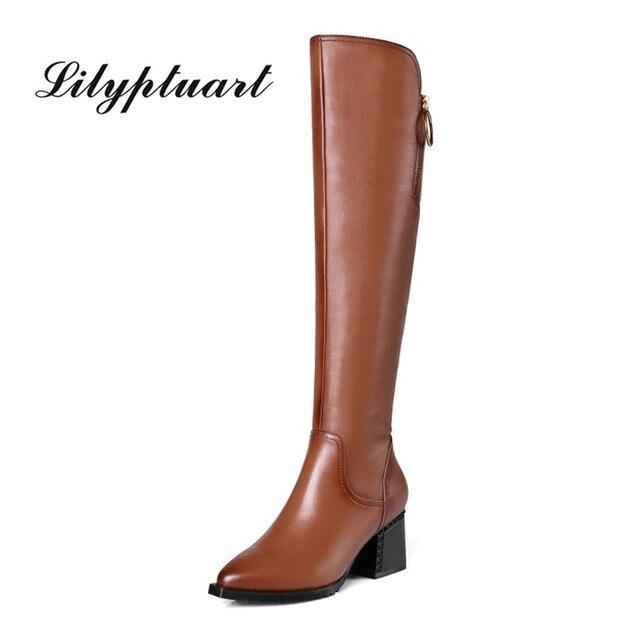 Stile britannico della pelle bovina materiale con cerniera decorativa stivali a punta di spessore tacco alto cerniera laterale suole di gomma stivali invernali donne