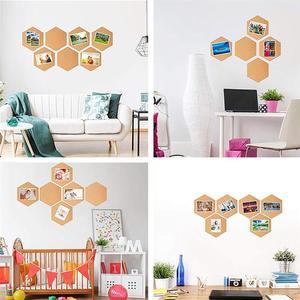 Image 4 - 8 piezas hexagonal corcho tableros foto Mensaje de auto adhesivo Fondo boletín mensaje pegatinas para casa y oficina