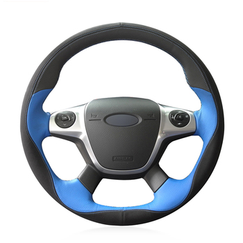 Hand-stitched Black Suede Blue Leather Anti-slip Car Steering Wheel Cover for Ford Focus 3 2012-2014 KUGA Escape 2013-2016