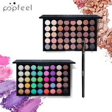 POPFEEL Hot! 40 Color Matte Eye Shadow Palette + Brush Long-Lasting Waterproof Smoky Makeup Pigment Earth And Candy Glitte