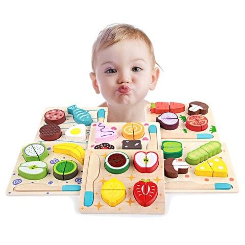montessori brinquedo educacao criancas aprendizagem precoce brinquedos de madeira 3d cozinha cortar frutas e legumes