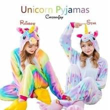 Фланелевая Милая одежда для сна с единорогом; детский Пижамный костюм с рисунком животных; детская одежда для сна; зимний костюм