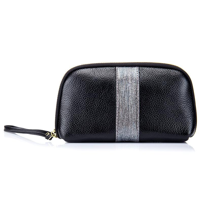 Silver Gray Women Genuine Long Clutch Wallet Wristlet
