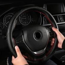 37-38cm capa de roda de couro genuíno moda volante do carro cobertura de volante trança com rosca de agulha funda volante
