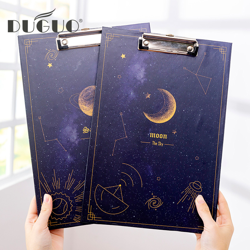 DUGUO Cute Stationery Korea Creative Dream Starry Sky A4 File Board Clip Test Paper Clip Board Clip Folder Kawaii Supplies