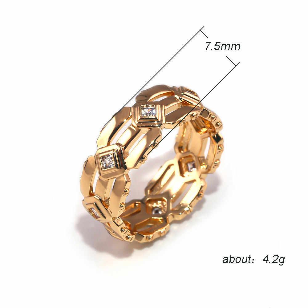 Classic Rose Gold สีงานแต่งงานแหวนแฟชั่นชายขนาดเล็กสีขาว Zircon แหวนสัญญาหมั้นแหวนสำหรับชาย