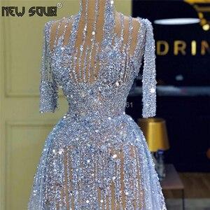 Image 3 - Cömert mavi abiye 2020 Robe De Soiree türk kaftanlar uzun kristal balo elbise Aibye resmi arapça Dubai parti kıyafeti