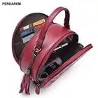 Bandolera de cuero para mujer pequeños bolsos redondos retro estilo chino Portátil Bolsa de mensajero un hombro bolso cilíndrico piel de vaca - 2