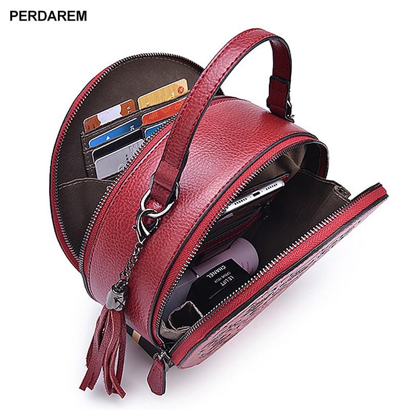 Saco de couro crossbody senhora pequenos sacos redondos retro estilo chinês saco do mensageiro portátil um ombro cilindro bolsa pele vaca - 2