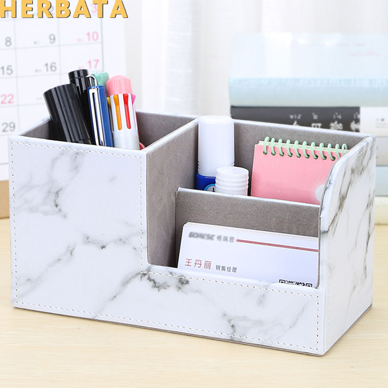 New Marble Pen Pencil Holder Desk Organizer Multifunctional Storage Box Cell Phone Stand Estuche Escolar Office Supplies CL-2564