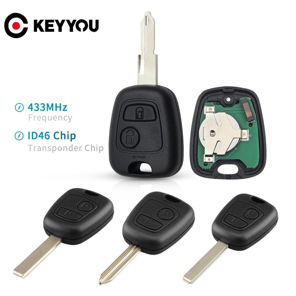 Автомобильный пульт дистанционного управления KEYYOU с 2 кнопками 433 МГц ID46 для Peugeot 106 107 206 306 307 207 407 Partner для Citroen C1 C2 C3 C4 Saxo Picasso|Ключ от авто|   | АлиЭкспресс
