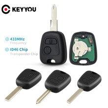Автомобильный пульт дистанционного управления KEYYOU с 2 кнопками 433 МГц ID46 для Peugeot 106 107 206 306 307 207 407 Partner для Citroen C1 C2 C3 C4 Saxo Picasso