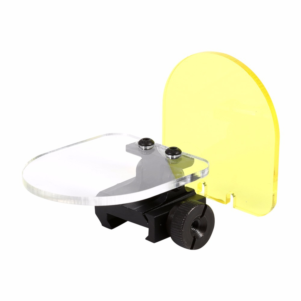 Sight Scope Protector Lens Screen Cover Shield Panel Clear Yellow W//20mm Rail