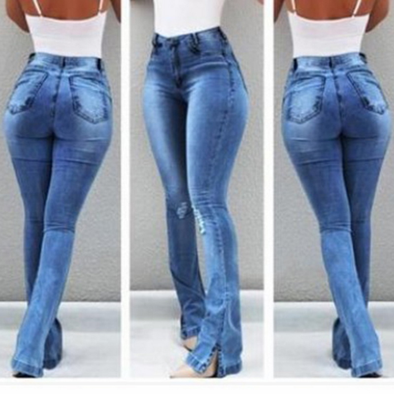 CALOFE New Solid High Waist Bell-Bottom Jeans Slim Fit Denim Blue Women Jeans Push Up High Waist Long Flare Pants Skinny Mujer